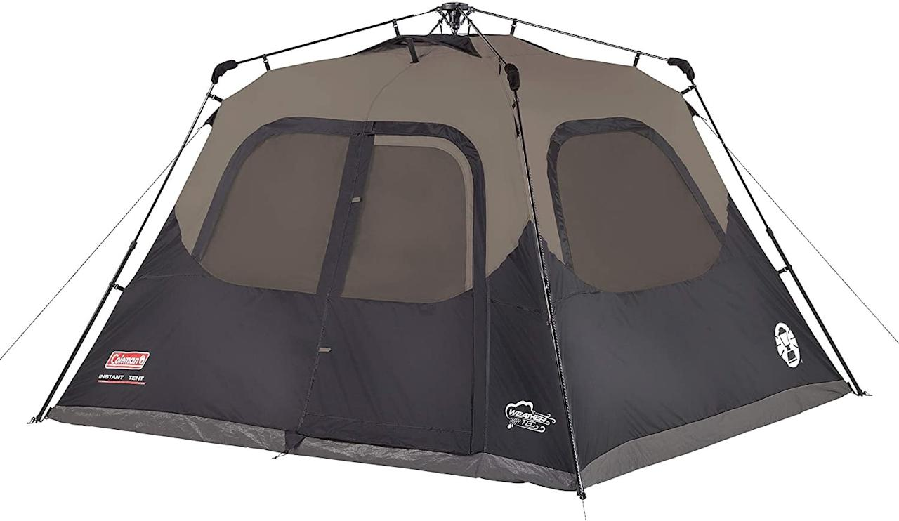 "<p>This <a href=""https://www.popsugar.com/buy/Coleman-Cabin-Tent-574560?p_name=Coleman%20Cabin%20Tent&retailer=amazon.com&pid=574560&price=147&evar1=moms%3Aus&evar9=47479532&evar98=https%3A%2F%2Fwww.popsugar.com%2Fphoto-gallery%2F47479532%2Fimage%2F47479538%2FColeman-Cabin-Tent&list1=camping%2Ckid%20activities%2Ckid%20shopping%2Cparent%20shopping%2Cstaying%20home&prop13=api&pdata=1"" rel=""nofollow"" data-shoppable-link=""1"" target=""_blank"" class=""ga-track"" data-ga-category=""Related"" data-ga-label=""https://www.amazon.com/dp/B004E4ERHA/ref=cm_sw_r_tw_dp_U_x_LTbWEbK0N0ASY"" data-ga-action=""In-Line Links"">Coleman Cabin Tent</a> ($147) sleeps up to six people and offers plenty of room for any stuffed friends or toys your kids want to bring along. The poles come preattached for fast, foolproof setup in as little as 60 seconds.</p>"