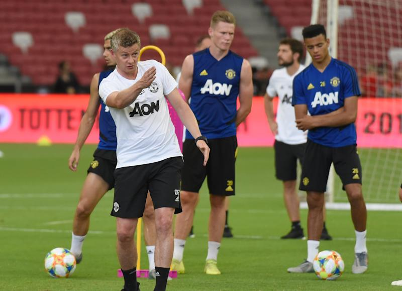 Manchester United manager Ole Gunnar Solskjaer (white shirt) conducting the team training session at the National Stadium for the International Champions Cup. (PHOTO: Zainal Yahya/Yahoo News Singapore)