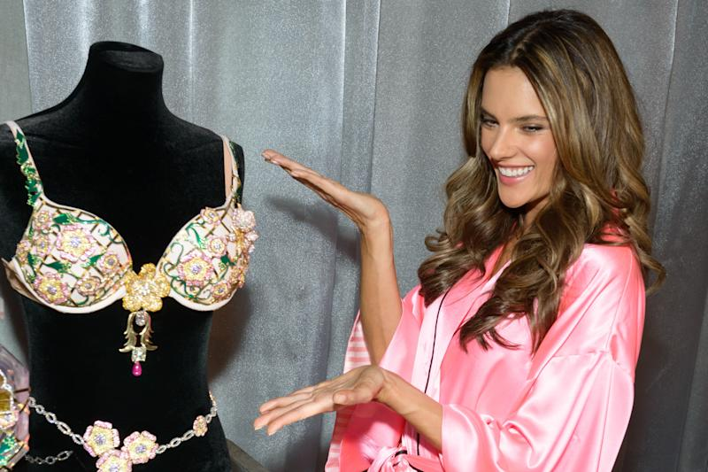 Model Alessandra Ambrosio poses with the 2012 Fantasy Bra backstage at the 2012 Victoria's Secret Fashion Show on Nov. 7, 2012 in New York City.