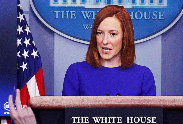 PHOTO: White House Press Secretary Jen Psaki takes questions from journalists in the James S Brady Press Briefing Room at the White House, after the inauguration of Joe Biden, Jan. 20, 2021. (Tom Brenner/Reuters)