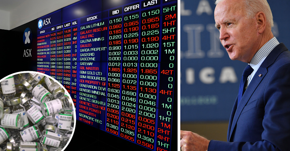 Empty bottles of the COVID-19 vaccine, stock price wall in the ASX and US President Joe Biden speaking
