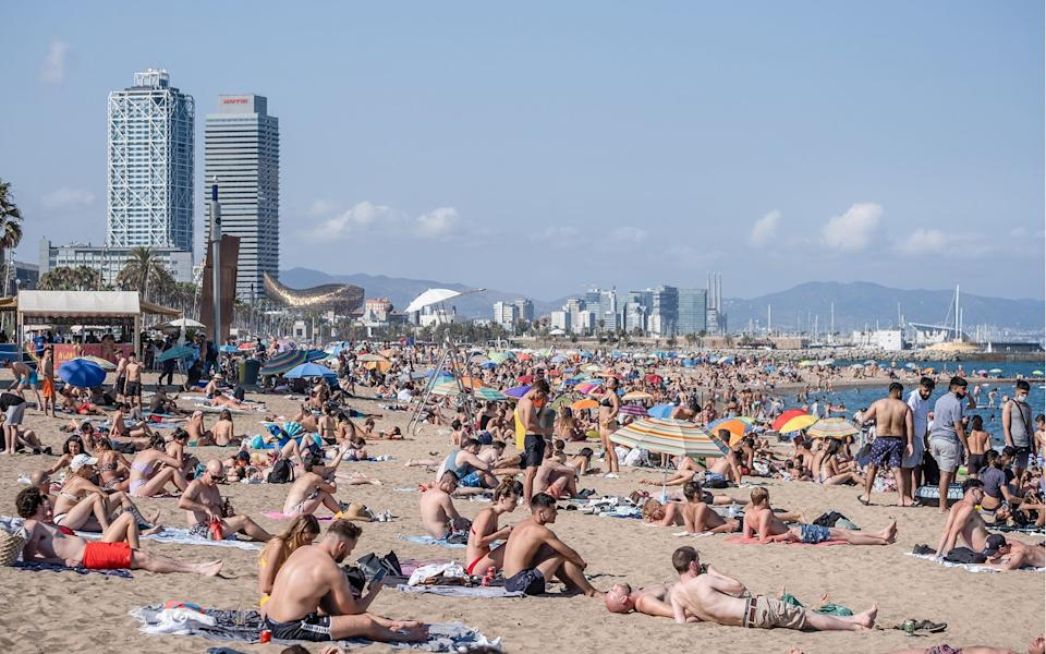 Barcelona's beaches were busy over the weekend - Getty