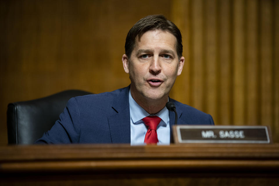 Sen. Ben Sasse, R-Neb., speaks during a hearing of the Senate Judiciary Subcommittee on Privacy, Technology, and the Law, on Capitol Hill, Tuesday, April 27, 2021, in Washington. (Al Drago/Pool via AP)