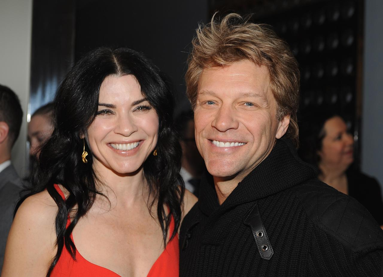 """NEW YORK, NY - DECEMBER 09:  Actress Julianna Margulies and musician Jon Bon Jovi (R) attend the premiere of """"Stand Up Guys"""" hosted by The Cinema Society with Chrysler and Bally at MOMA on December 9, 2012 in New York City.  (Photo by Fernando Leon/Getty Images)"""