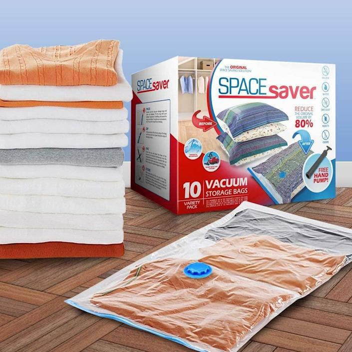 """<h2>Store Your Winter Stuff</h2><br>The best way to prevent a closet from becoming overly crowded is by arranging it according to season. Now that spring is in full swing and summer is on the horizon, stow away your bulky winter coats and sweaters using vacuum-sealed packs. Not only do they compress what's inside to take up less space, they also keep their contents clean, visible, and moisture-free. <br><br><strong>Spacesaver</strong> Spacesaver Premium Vacuum Storage Bags, $, available at <a href=""""https://www.amazon.com/Spacesaver-Variety-10-Pack/dp/B07L6SC9ND"""" rel=""""nofollow noopener"""" target=""""_blank"""" data-ylk=""""slk:Amazon"""" class=""""link rapid-noclick-resp"""">Amazon</a>"""