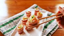 """<p>Don't abandon your sushi habit—make it better. </p><p>Get the recipe from <a href=""""https://www.delish.com/cooking/recipe-ideas/a26409980/keto-bacon-sushi-recipe/"""" rel=""""nofollow noopener"""" target=""""_blank"""" data-ylk=""""slk:Delish"""" class=""""link rapid-noclick-resp"""">Delish</a>.</p>"""