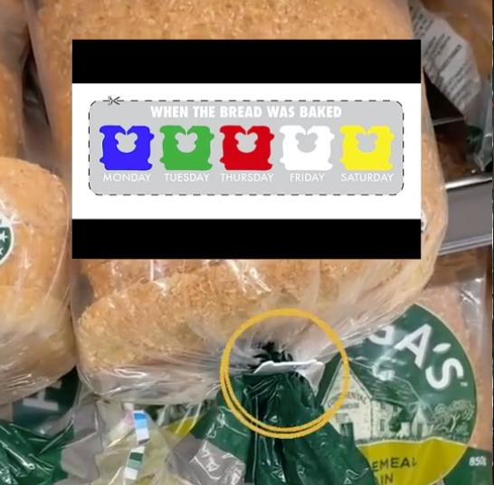 Image of vbread tag with graphic showing colour to bake day Woolworths bread