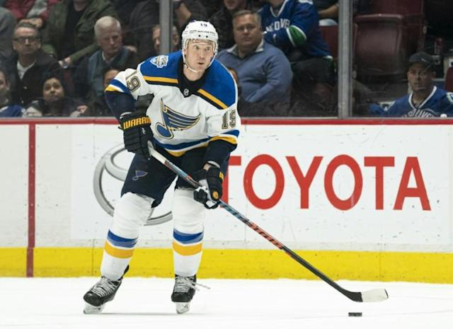 "St. Louis Blues defenseman Jay Bouwmeester is ""very well"" in a California hospital after a ""cardiac episode"" on the team bench during an NHL game, Blues general manager Doug Armstrong said Wednesday (AFP Photo/Rich Lam)"