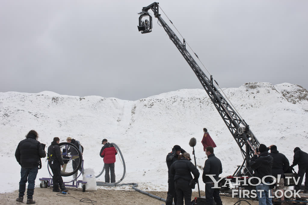 The opening scenes of Merlin Season 5 take place in an icy, frozen setting - but were actually shot on a hot summer day, with shredded (and recyclable) paper used as snow.