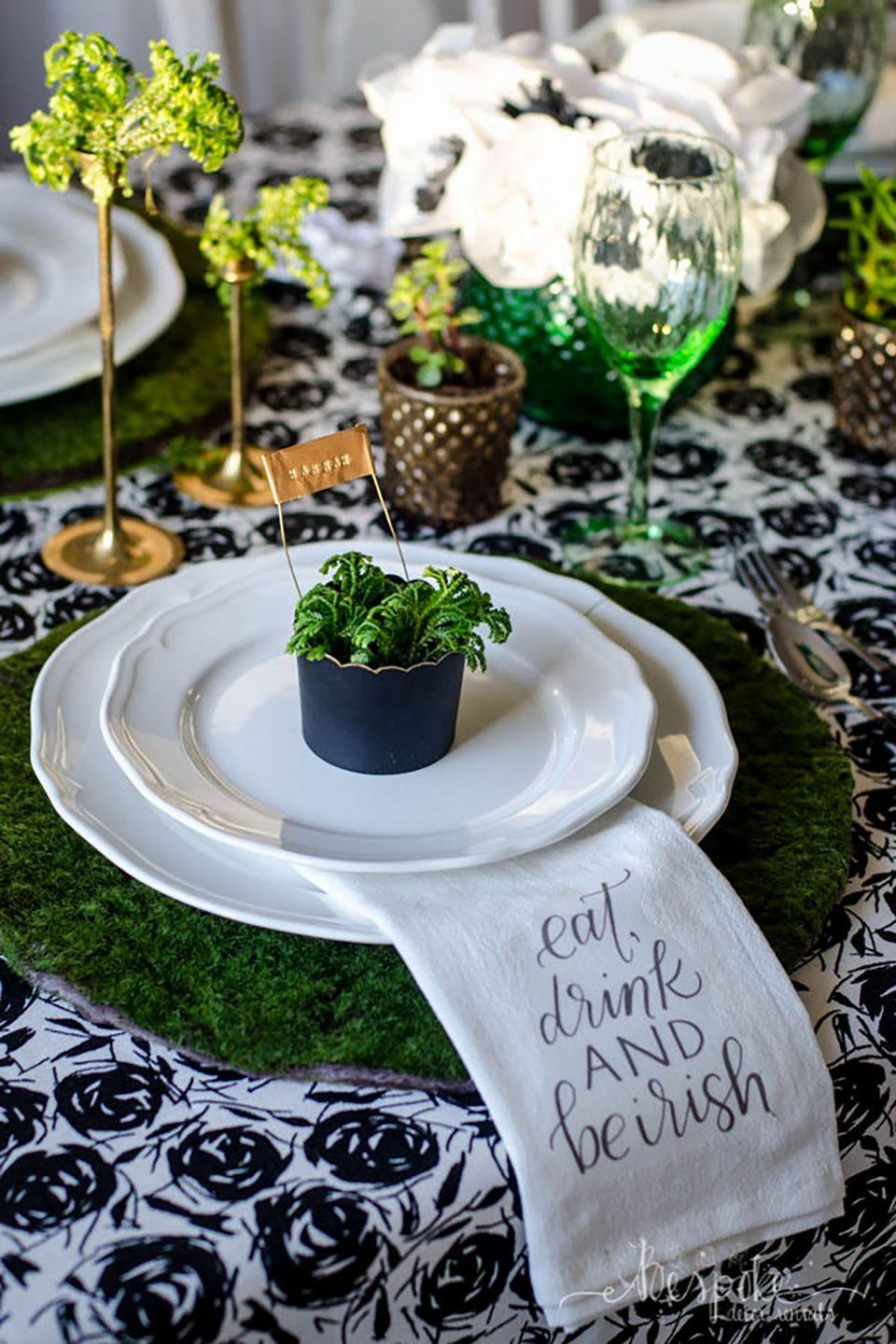 """<p>These gorgeous moss placemats will add so much texture to your St. Patrick's Day table.</p><p><strong>Get the tutorial at <a href=""""http://www.bespokedecor.ca/diy-moss-placemats-saint-patricks-day-blogger-party/"""" rel=""""nofollow noopener"""" target=""""_blank"""" data-ylk=""""slk:Bespoke Decor"""" class=""""link rapid-noclick-resp"""">Bespoke Decor</a>. </strong></p><p><a class=""""link rapid-noclick-resp"""" href=""""https://www.amazon.com/Super-Moss-759834224068-B01LYOBGCP-Fresh/dp/B01LYOBGCP/ref=sr_1_1_sspa?tag=syn-yahoo-20&ascsubtag=%5Bartid%7C10050.g.4036%5Bsrc%7Cyahoo-us"""" rel=""""nofollow noopener"""" target=""""_blank"""" data-ylk=""""slk:SHOP MOSS"""">SHOP MOSS</a></p>"""