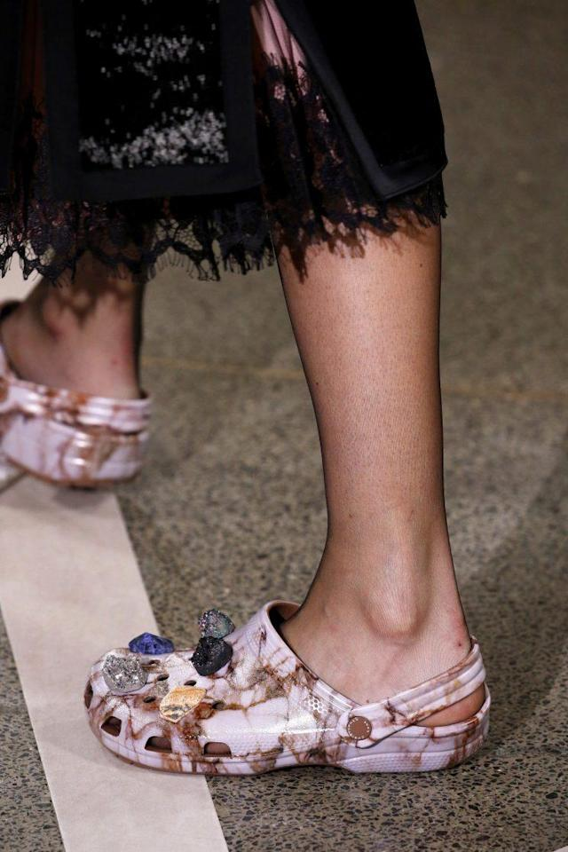 Designer Christopher Kane's Crocs on the runway in September 2016. (Photo: Getty Images)