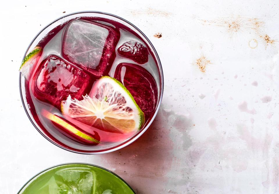 This hibiscus agua fresca has chile, vanilla, and lime juice.