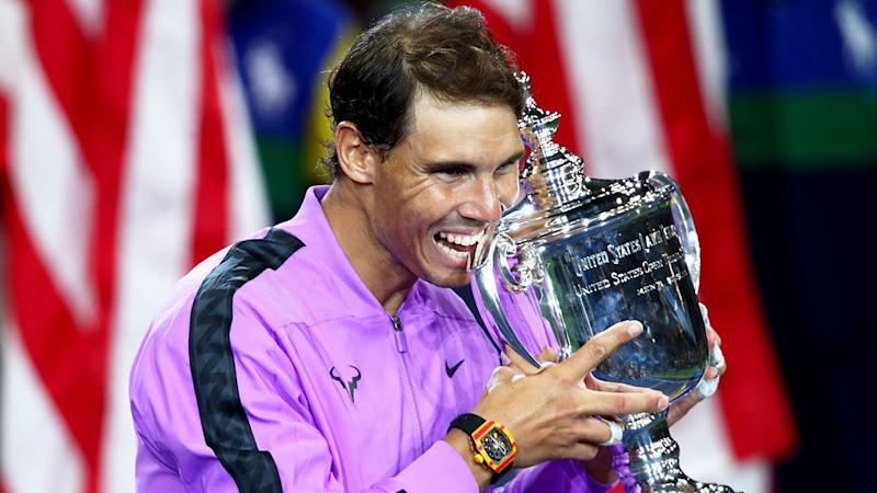 Rafael Nadal is pictured here with the 2019 US Open trophy.