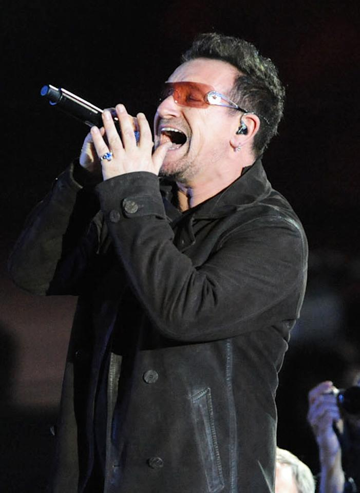 """Bono performs at the """"A Decade of Difference"""" concert on October 15, 2011, at the Hollywood Bowl, Los Angeles. <br><br>(Photo by Stephanie Cabral/Yahoo!)<br><br><a href=""""http://news.yahoo.com/blogs/the-difference/clinton-concert-video-watch-edge-bono-perform-164817639.html"""">Watch The Edge and Bono's entire performance</a>"""