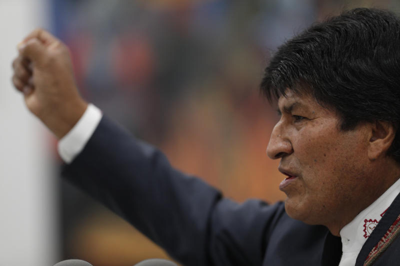 Bolivia's President Evo Morales speaks during a press conference in La Paz, Bolivia, Thursday, Oct. 24, 2019. Morales declared himself the winner of the country's presidential election, saying he received the 10 percentage point lead over his nearest rival needed to win in the first round of voting. (AP Photo/Juan Karita)