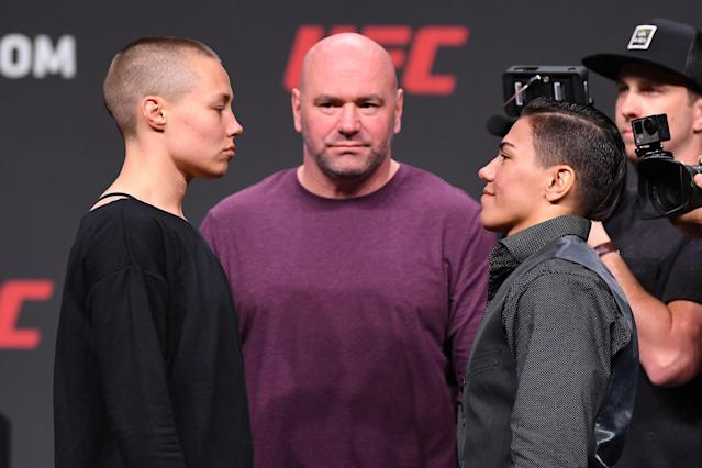 Rose Namajunas and Jessica Andrade of Brazil face off inside State Farm Arena on April 12, 2019 in Atlanta. (Getty Images)