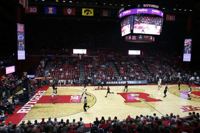 """Mar 6, 2019; Piscataway, NJ, USA; <a class=""""link rapid-noclick-resp"""" href=""""/ncaaw/teams/rutgers/"""" data-ylk=""""slk:Rutgers Scarlet Knights"""">Rutgers Scarlet Knights</a> and Penn State Nittany Lions during the first half at Rutgers Athletic Center (RAC). Mandatory Credit: Noah K. Murray-USA TODAY Sports"""
