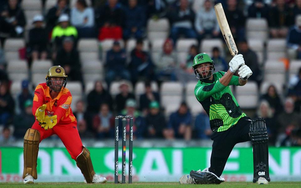 James Vince of Southern Brave hits out while Birmingham Phoenix keeper Chris Cooke looks on during The Hundred match between Southern Brave Men and Birmingham Phoenix Men at The Ageas Bowl on July 30, 2021 in Southampton, England - GETTY IMAGES
