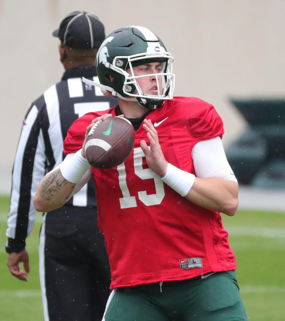 Michigan State quarterback Anthony Russo passes during the final spring scrimmage Saturday, April 24, 2021 at Spartan Stadium in East Lansing.