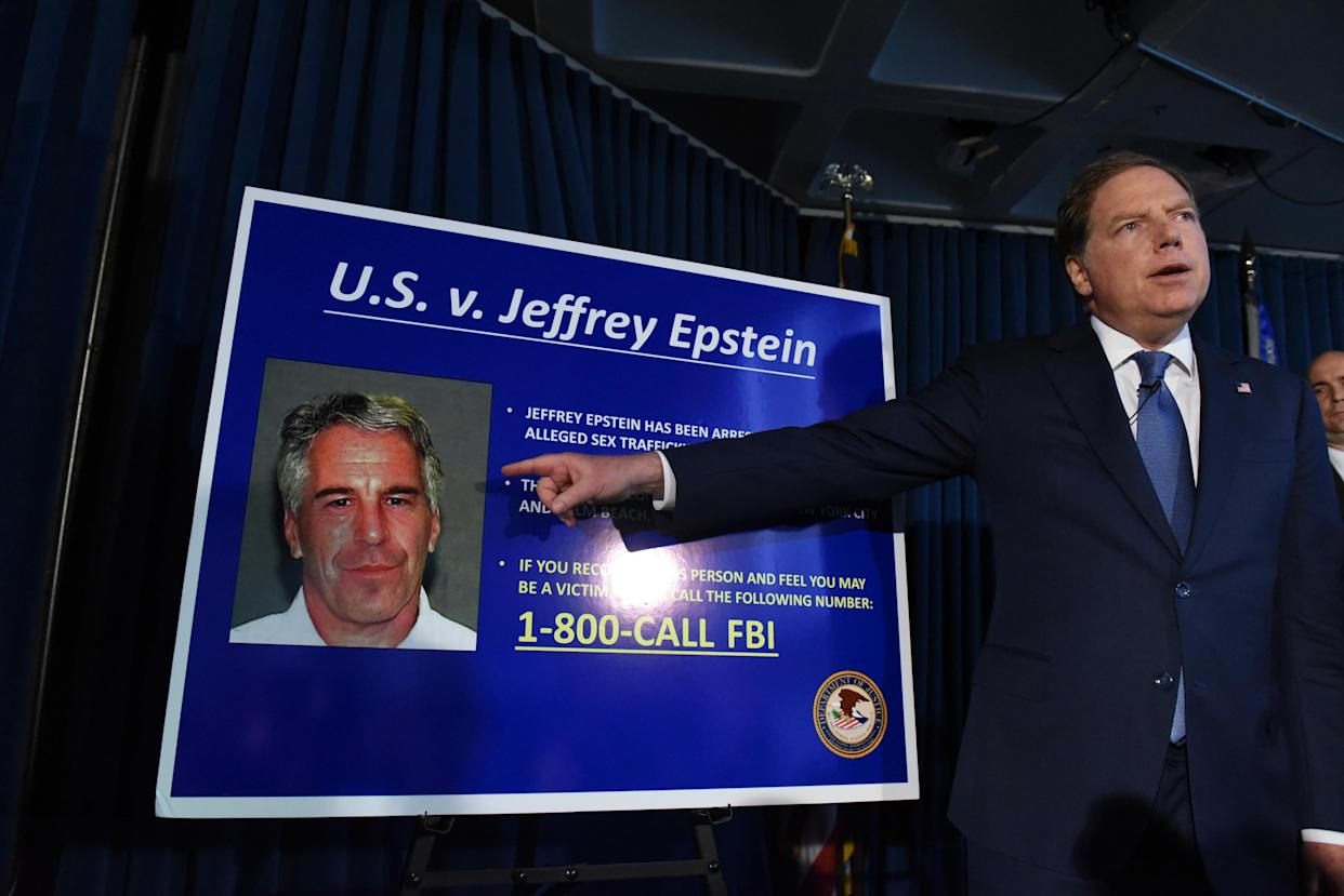 U.S. Attorney Geoffrey Berman announces charges against Jeffrey Epstein on July 8, 2019. (Photo: Stephanie Keith/Getty Images)