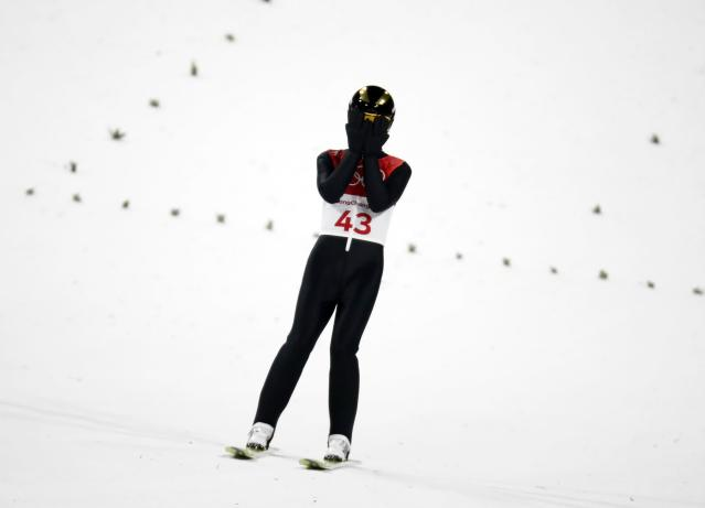 Nordic Combined Events - Pyeongchang 2018 Winter Olympics - Men's Individual Gundersen Large Hill Competition - Alpensia Ski Jumping Centre - Pyeongchang, South Korea – February 20, 2018 - Espen Andersen of Norway reacts. REUTERS/Kai Pfaffenbach