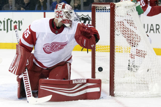 New York Rangers center Chris Kreider, not seen, scores a goal past Detroit Red Wings goaltender Jimmy Howard during the second period of an NHL hockey game, Wednesday, Nov. 6, 2019, at Madison Square Garden in New York. (AP Photo/Mary Altaffer)