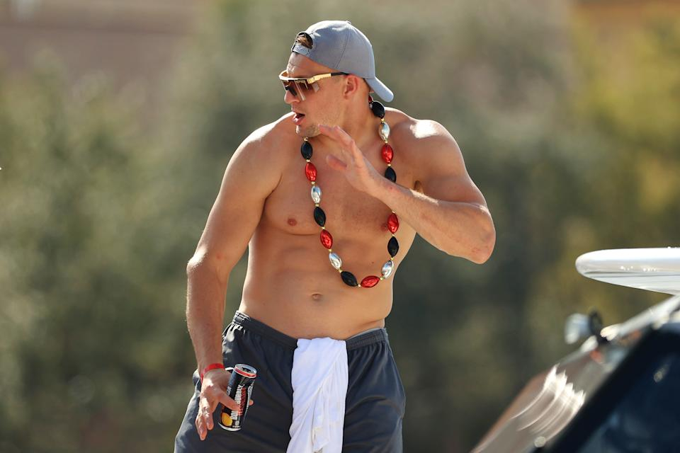 TAMPA, FLORIDA - FEBRUARY 10: Rob Gronkowski #87 of the Tampa Bay Buccaneers celebrates during the Tampa Bay Buccaneers Super Bowl boat parade on February 10, 2021 after defeating the Kansas City Chiefs 31-9 in Super Bowl LV in Tampa, Florida. (Photo by Mike Ehrmann/Getty Images)