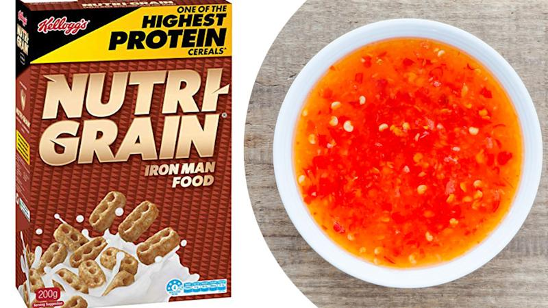 Nutri-grain cereal and sweet chilli sauce