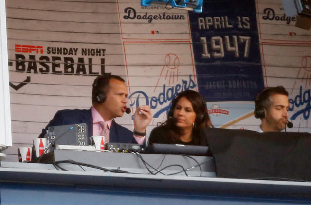 A-Rod in the ESPN booth with Jessica Mendoza and Matt Vasgersian. (AP)
