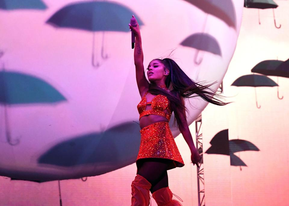 INDIO, CALIFORNIA - APRIL 21: Ariana Grande performs at Coachella Stage during the 2019 Coachella Valley Music And Arts Festival on April 21, 2019 in Indio, California. (Photo by Kevin Mazur/Getty Images for AG)