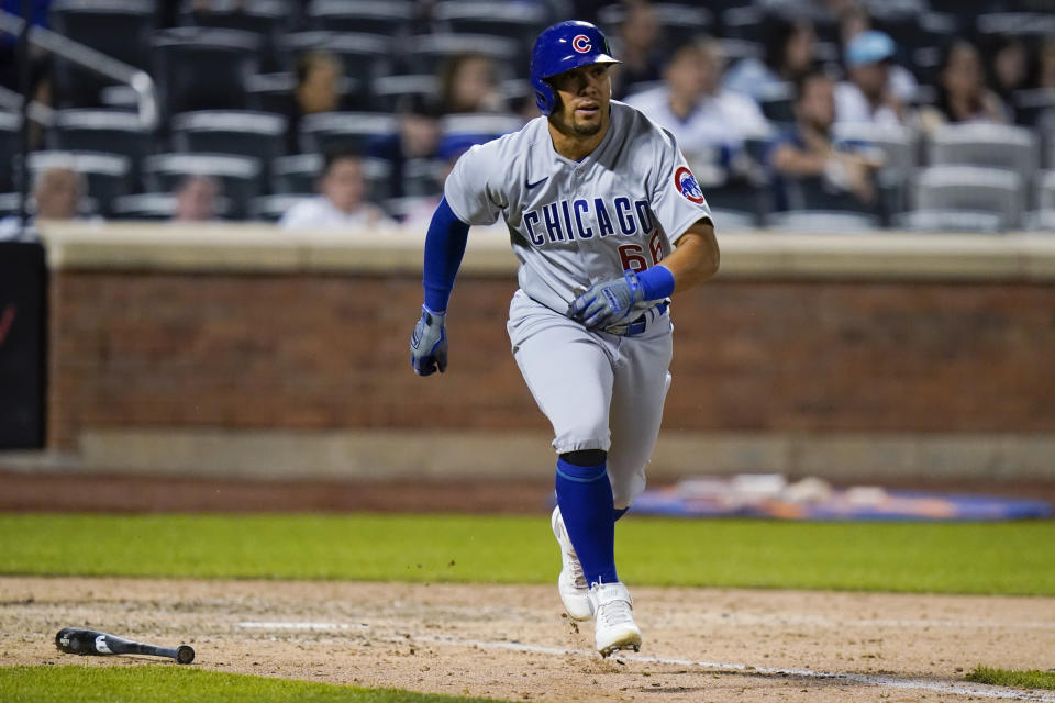 Chicago Cubs' Rafael Ortega watches his two-run home run during the ninth inning of the team's baseball game against the New York Mets on Wednesday, June 16, 2021, in New York. (AP Photo/Frank Franklin II)