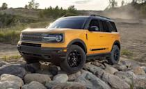 "<p>Think of the <a href=""https://www.caranddriver.com/ford/bronco-sport"" rel=""nofollow noopener"" target=""_blank"" data-ylk=""slk:Ford Bronco Sport"" class=""link rapid-noclick-resp"">Ford Bronco Sport</a> as an easier going off-roader than the bulkier Bronco. It shares the same powertrain as the Ford Escape, a turbocharged 1.5-liter three-cylinder with 181 horsepower while a 245-hp turbo 2.0-liter four-cylinder is optional. An eight-speed automatic transmission and all-wheel drive are standard. Higher trims offer a a more sophisticated AWD system with a twin-clutch torque-vectoring rear differential as well as a beefier suspension. Ground clearance measures 7.8 inches for the base model and 8.8 inches for the Badlands trim. Max towing capacity is 2200 lbs with the optional 2.0-liter and for folks truly after going off the grid with a Bronco Sport, the optional rubberized flooring might be a good idea. Ford is taking preorders now, but they should be available later this year at dealerships.</p>"