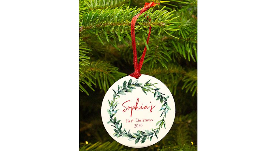 Personalised Baby's First Christmas Wreath Decoration. (Joules)