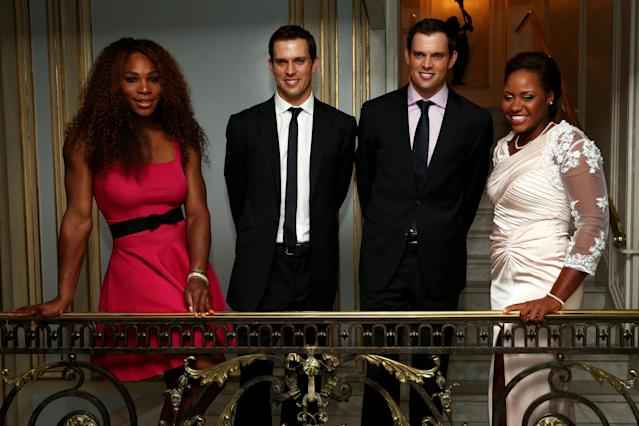 Serena Williams and Taylor Townsend, along with the Bryan brothers, at ITF World Champions Dinner during the 2013 French Open. The two will meet in the first round of the U.S. Open. (Photo by Matthew Stockman/Getty Images)