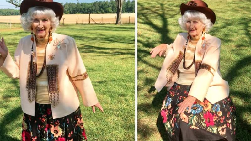 Betty McDonald 91 years old shares fashion shows during social distancing in the USA on YouTube