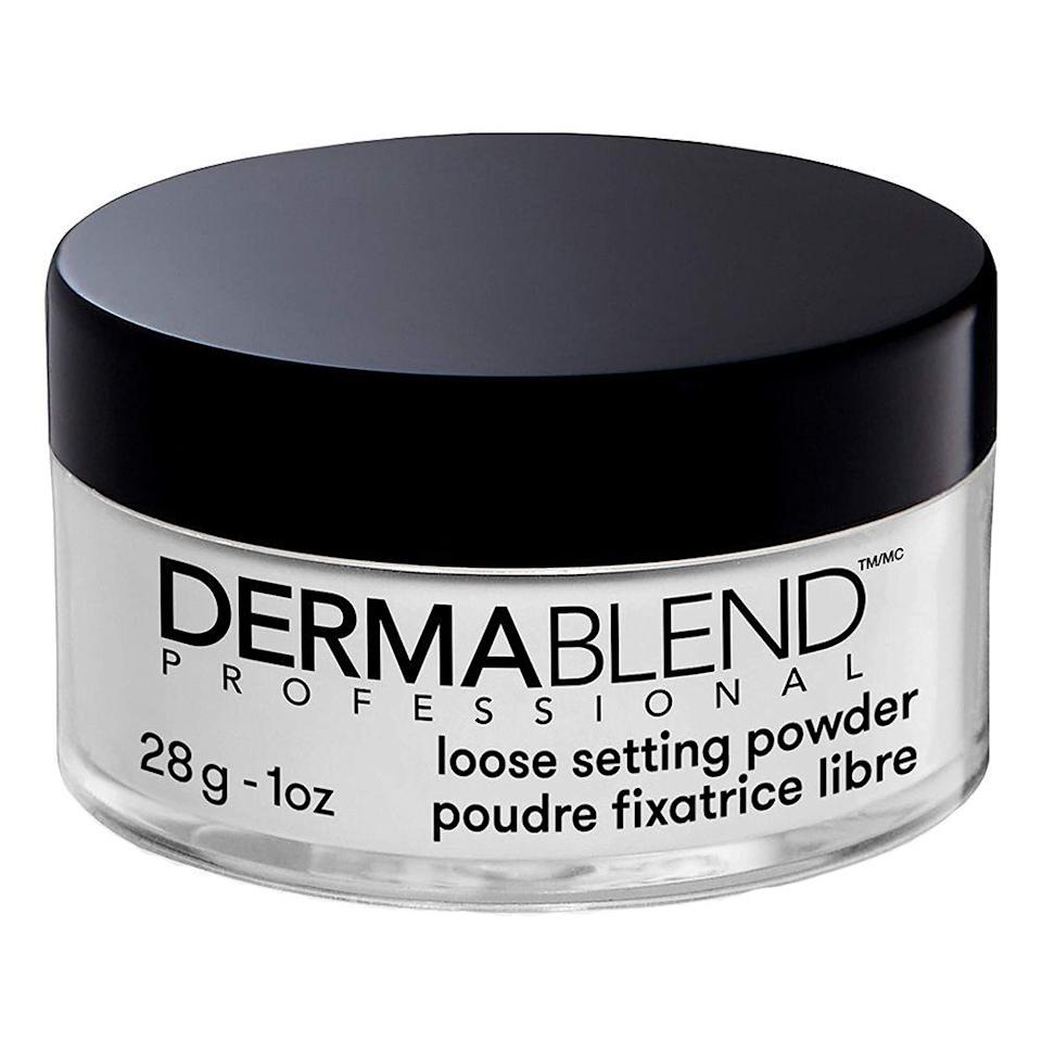 """<p><strong>Dermablend</strong></p><p>amazon.com</p><p><strong>$29.00</strong></p><p><a href=""""https://www.amazon.com/dp/B0002RI2PG?tag=syn-yahoo-20&ascsubtag=%5Bartid%7C2089.g.30744763%5Bsrc%7Cyahoo-us"""" rel=""""nofollow noopener"""" target=""""_blank"""" data-ylk=""""slk:Shop Now"""" class=""""link rapid-noclick-resp"""">Shop Now</a></p><p>As with your face, a setting powder can do wonders for your leg makeup (think oil control, a no-budge hold, and tacking on a few more hours to the longevity of your makeup). For results that truly last during a long day of strutting, grab this iconic best-selling setting powder from Dermablend. </p><p>This setting powder is great for both your face and anywhere on your body, which saves you a few bucks on your next beauty restock. And don't let its ghostly-white shade fool you: this setting powder blends perfectly transparent on skin, no matter your skin tone. Here's the most impressive part: This setting powder makes your makeup look freshly applied for a full 16 hours. </p><p>In case you weren't already impressed, this setting powder is also smudge- and transfer-resistant, and it comes in two other easy-to-blend tints to choose from. </p>"""