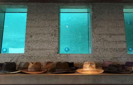 Hats a lined up beneath windows that show the swimming pool at the James Goldstein residence, which was designed by modernist architect John Lautner, during a media event in Los Angeles, California February 17, 2016. REUTERS/Piya Sinha-Roy