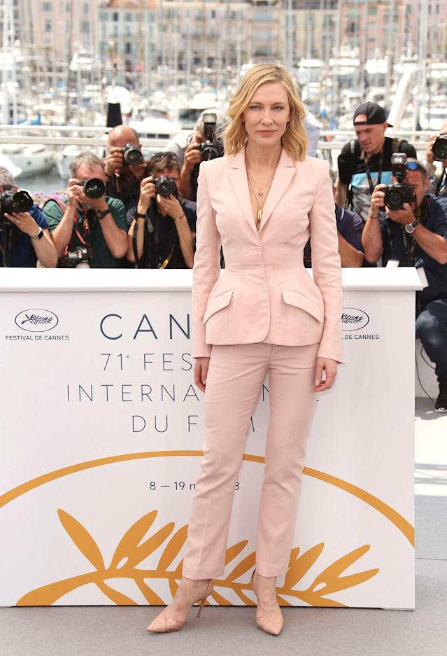 <p>Jury president Cate Blanchett rocked up wearing a pale pink trouser suit and matching heels. (Photo: Rex) </p>