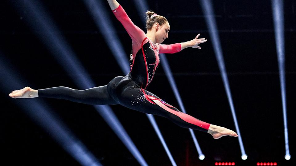 Sarah Voss, pictured here competing in a full-length bodysuit at the European Artistic Gymnastics Championships.