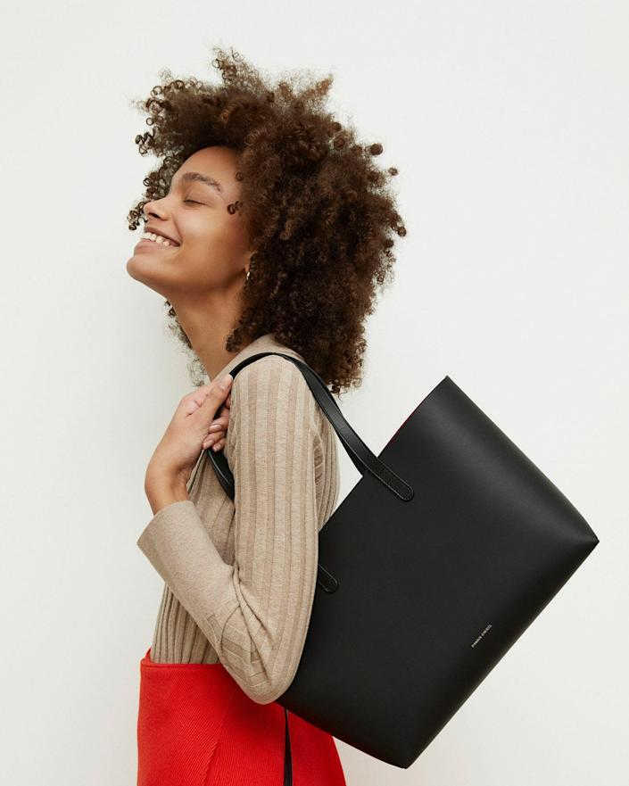 <p>You can't go wrong with the classic <span>Mansur Gavrie Small Tote</span> ($625).</p>