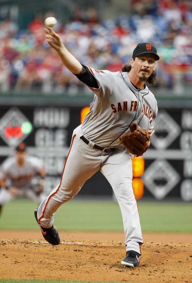 San Francisco Giants starting pitcher Jeff Samardzija throws a pitch during the first inning of a baseball game against the Philadelphia Phillies, Wednesday, July 31, 2019, in Philadelphia. (AP Photo/Chris Szagola)
