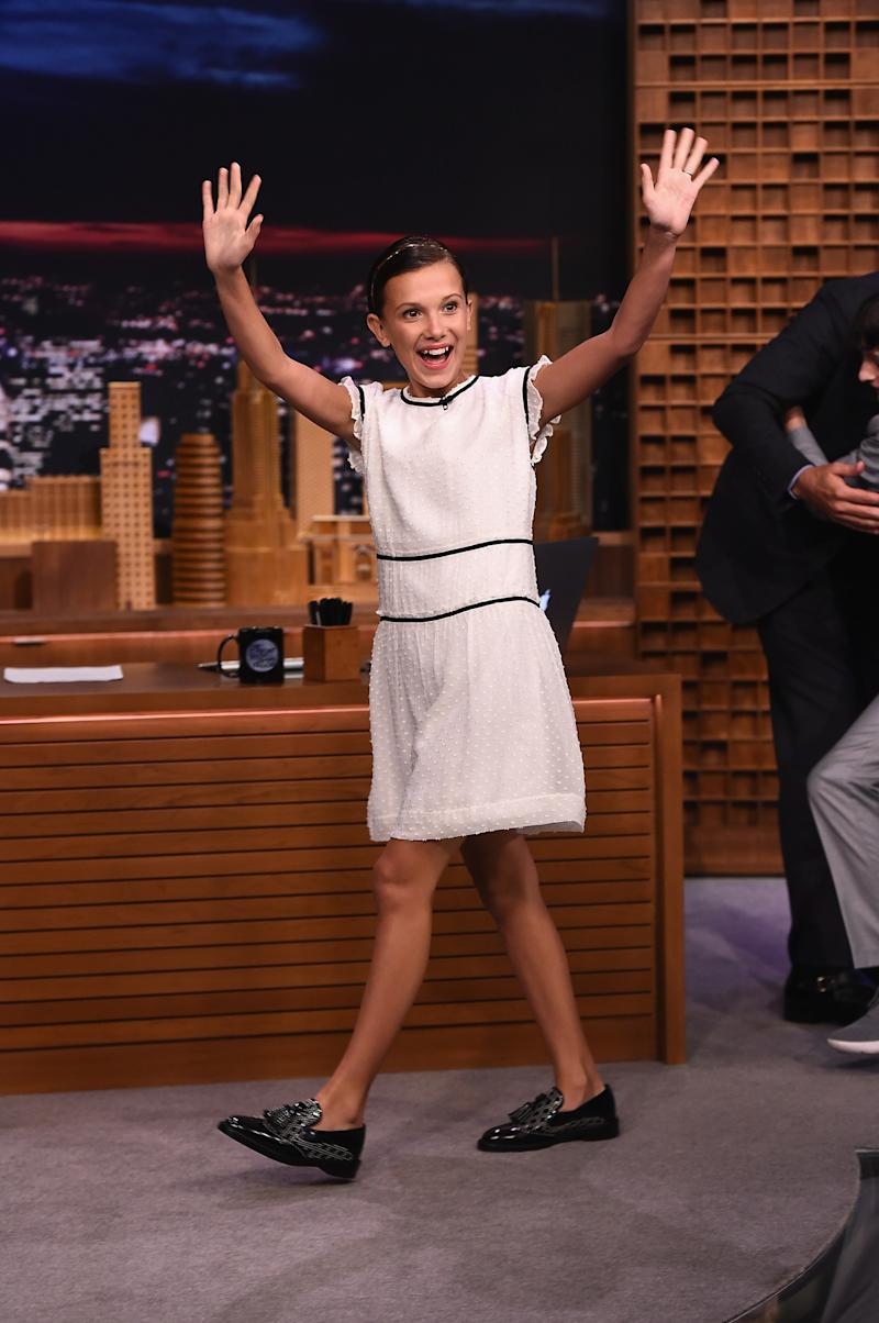 "Millie Bobby Brown visits ""The Tonight Show Starring Jimmy Fallon"" at Rockefeller Center on August 31, 2016 in New York City."