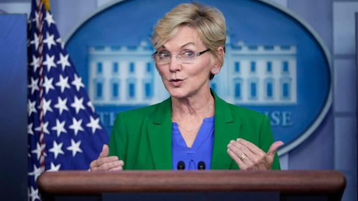 Secretary of Energy Jennifer Granholm briefs reporters on the cyber attack on the Colonial Pipeline and the U.S. response during the daily press briefing at the White House on May 11, 2021 in Washington, DC. (Photo by Drew Angerer/Getty Images)
