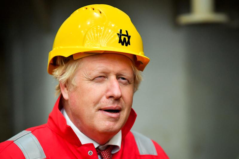 Prime Minister Boris Johnson during his visit to Appledore Shipyard in Devon which was bought by InfraStrata, the firm which also owns Belfast's Harland & Wolff (H&W), in a �7 million deal.