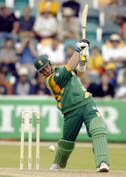15 Jan 2002:  Mark Boucher of South Africa hits out, during the VB Series One Day International between South Africa and New Zealand played at Bellerive Oval, Hobart, Australia. DIGITAL IMAGE. Mandatory Credit: Hamish Blair/Getty Images