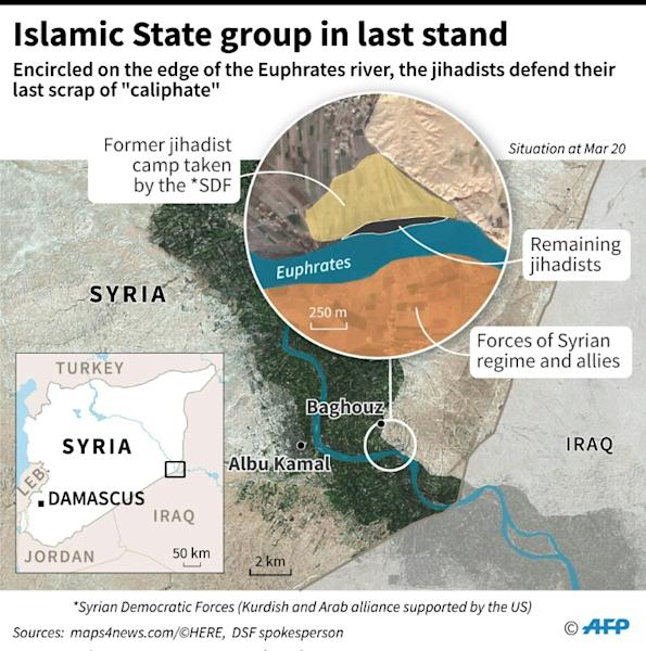 Close-up map on the last scrap of land being defended by Islamic State group in Syria