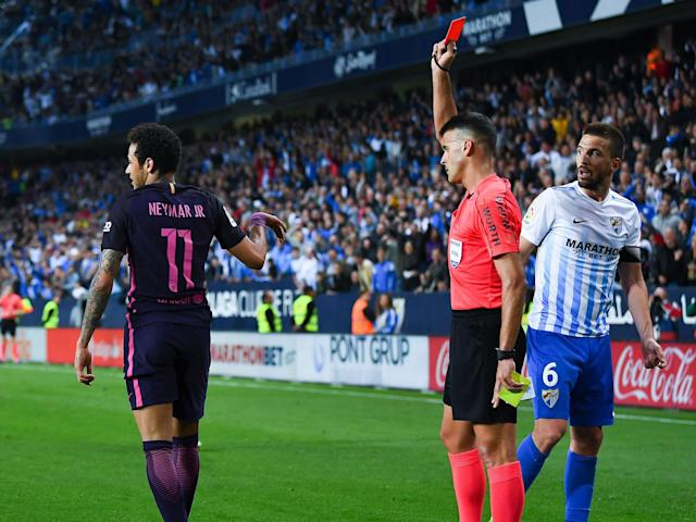 Neymar was handed a three-match ban after his red card at Malaga: Getty