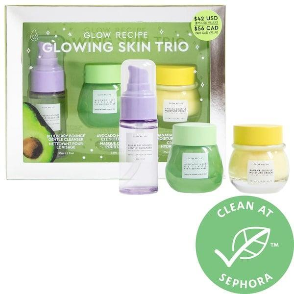 <p>The <span>Glow Recipe Glowing Skin Trio</span> ($42) makes a great intro to the brand with a moisturizer, eye mask, and cleanser all joining forces inside.</p>