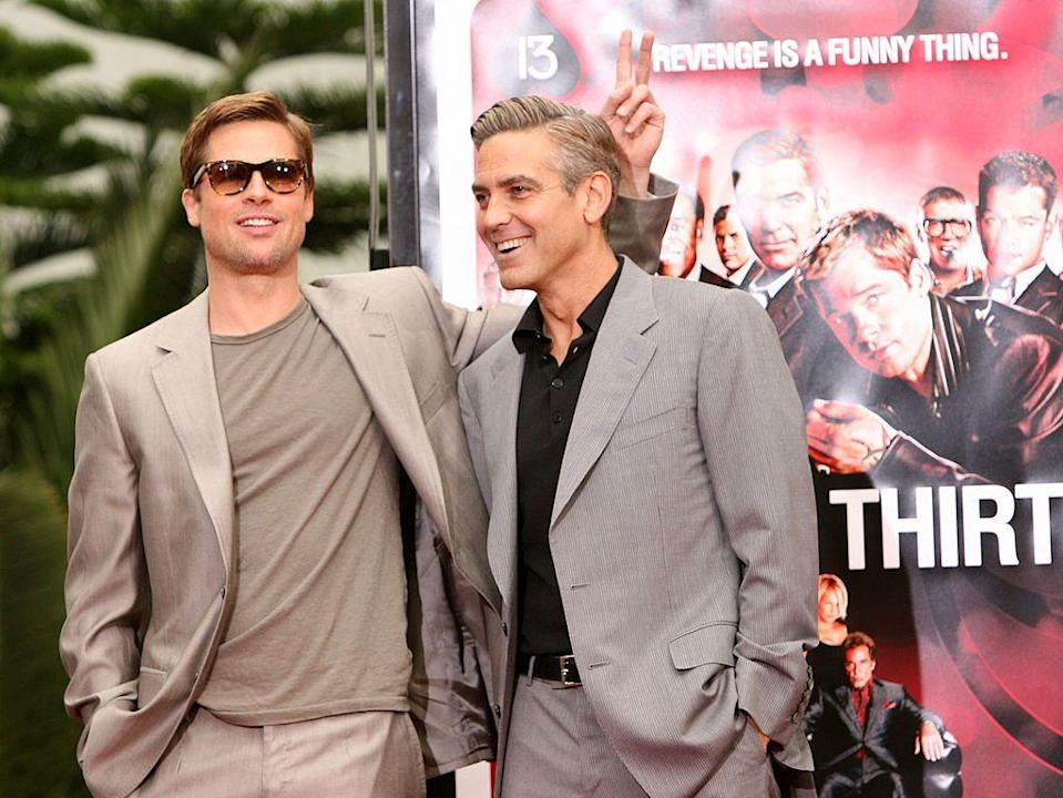 <p>Can you guess what other sub 6' actor's giving Clooney the bunny ears? </p>