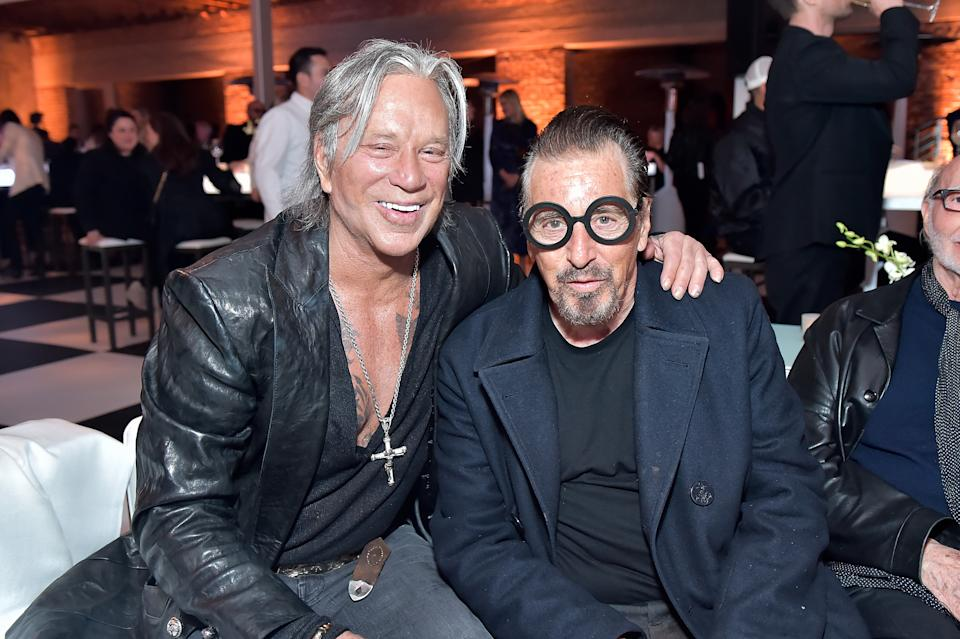 VERNON, CA - FEBRUARY 16:  Mickey Rourke and Al Pacino attend Mr Chow 50 Years on February 16, 2018 in Vernon, California.  (Photo by Stefanie Keenan/Getty Images for Mr Chow Enterprises )